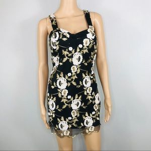 Just me embroidered flowers mini dress